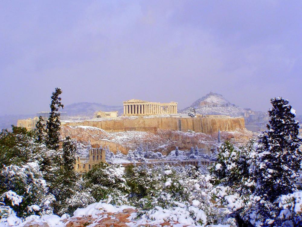 The Acropolis in winter.