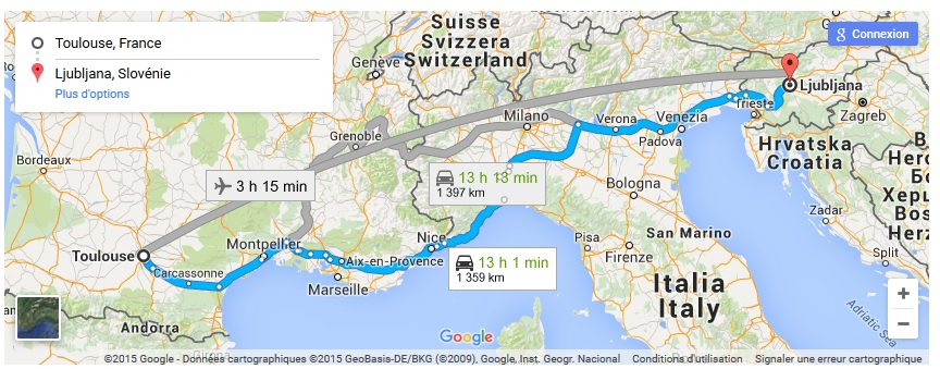 Google Map France to Slovenia